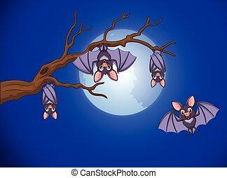 vleermuis, schattige, spotprent, slapende