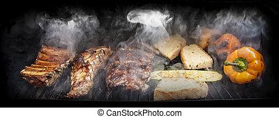 vlees, barbecue, groentes