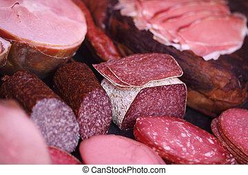 vlees, getoonde, in, slagerij