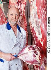 vlees, groot, slager, rauwe, bult, vasthouden