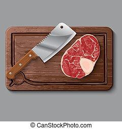 vlees, houten, realistisch, scherpe raad, mes