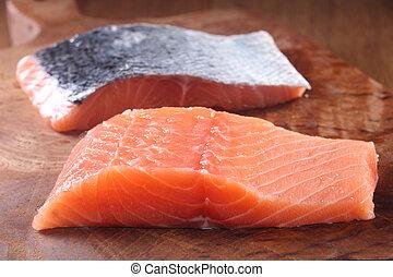 vlees, houten, visje, rauwe, het hakken plank, fris