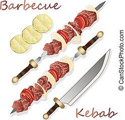 vlees, overzicht., ui, shoarma, kers, shish, illustratie, vector, tomato., bovenzijde, skewers., grilled