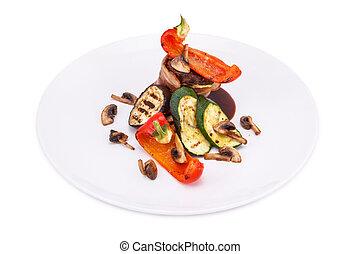 vlees, roulade, gevulde, met, spek, en, gegrilde groenten