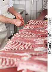 vlees, toonbank, slager, stukken, koord, knopende