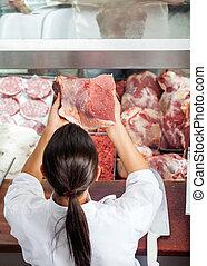 vlees, vleeshouwerij, slager, vrouwlijk, vasthouden, rood