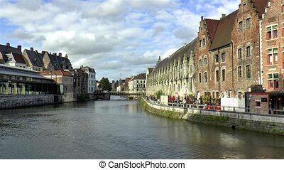 Vleeshuisbrug Bridge and traditional building along the Leie River in Ghent, Gent, Belgium. Image captured from Grasbrug Bridge.