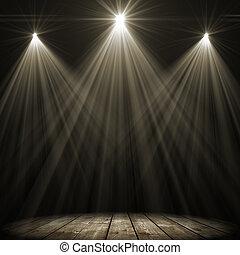 vlek, verlichting, drie, toneel