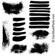 vlekken, vector, set, borstel, inkt