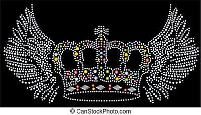 vleugel, en, kroon, beaded, kunstwerk