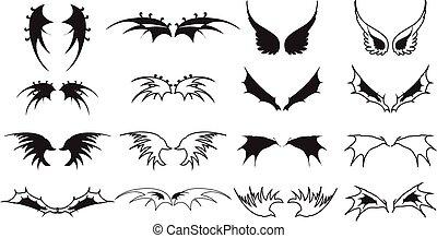 vleugel, iconen, set