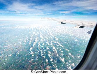 vleugel, vliegtuig, in, hoogte, gedurende, vlucht
