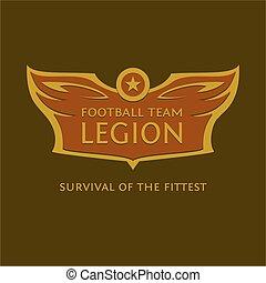 vleugels, bal, embleem, heraldisch, voetbal, team., vector, logo, ster