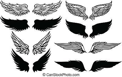 vleugels, grafisch, vector, set