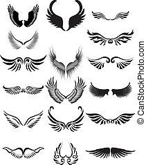 vleugels, silhouette, verzameling
