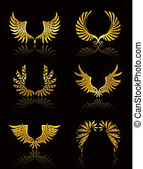 vleugels, vector, set