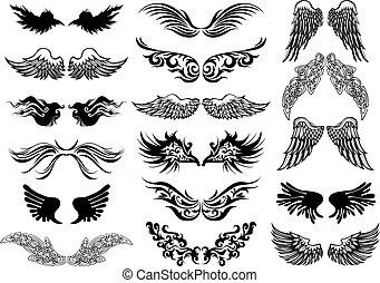 vleugels, vector, tatoeëren, set