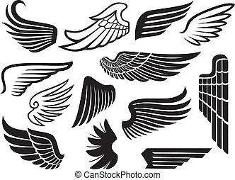 vleugels, verzameling, (set, van, wings)