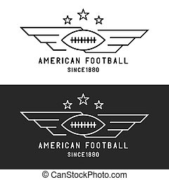 vleugels, voetbal, mockup, vliegen, toernooi, embleem, amerikaan, bal, black , mager, achtergrond, lijn, sportende, witte , logo