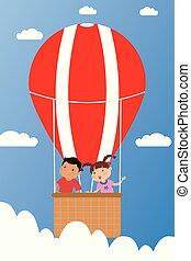 vlieg, balloon, lucht, warme, het glimlachen, kinderen