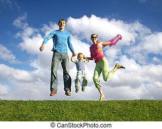 vlieg, gelukkige familie, op