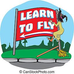 vlieg, heks, ongeluk, -, leren