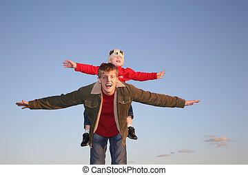 vlieg, jongen, en, vader