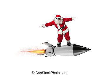 vlieg, kerstman, raket, claus, vrijstaand, snelle levering, achtergrond, gifts., gereed, witte kerst
