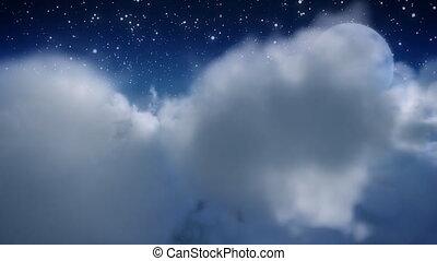 vlieg, moon., door, wolk