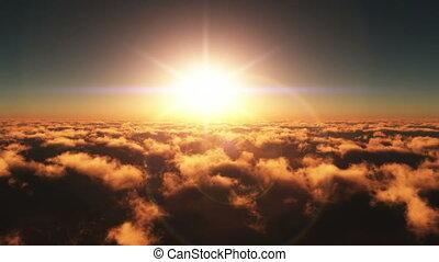 vlieg, ondergaande zon , op, wolken, 4k