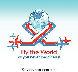vlieg rond de wereld