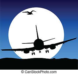 vlieg, vliegtuig, illustratie, maan