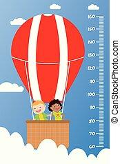 vlieg, warme, tabel, hoogte, het glimlachen, balloon, kinderen, geitjes, lucht