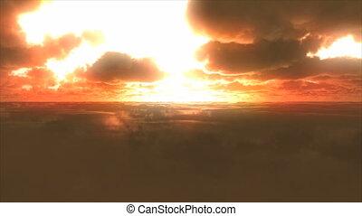 vlieg, wolken, ondergaande zon
