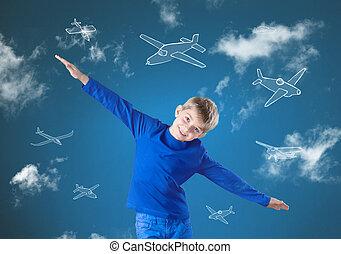 vlieg, zoals, vliegtuig