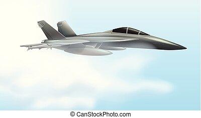 vliegen, airforce, straalvliegtuig, scène