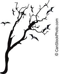 vliegen, boompje, vogel