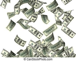vliegen, dollar, bankpapier