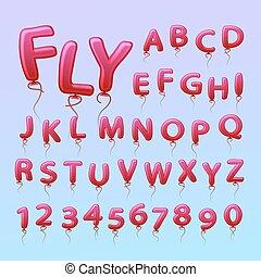 vliegen, gelul, in, de, vorm, van, brieven, numbers.