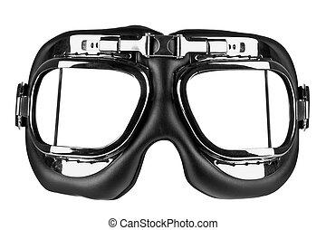 vliegen, goggles, vrijstaand, met, knippend pad