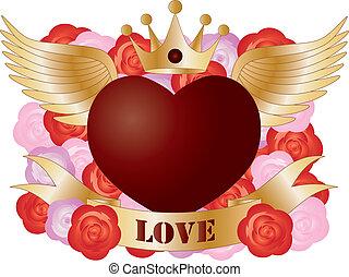 vliegen, hart, met, spandoek, en, rozen