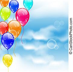 vliegen, kleurrijke, ballons, in, blauwe hemel