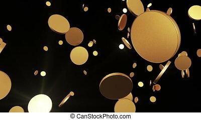 vliegen, muntjes, op, goud, black.