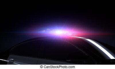 vliegen, ongeveer, politiewagen, met, opvlammende lichten