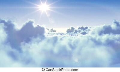 vliegen over, de, wolken, met, de, zon