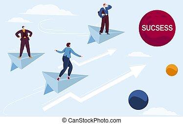 vliegen, plat, team, papier, richtingwijzer, zakenman, karakter, vector, zakelijk, toekomst, illustratie, succes, spotprent, prestatie, schaaf, succesvolle