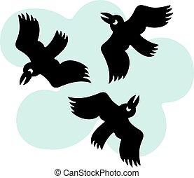 vliegen, ronde, vogels