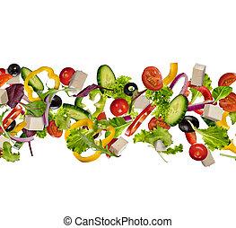 vliegen, stukken, van, groente, vrijstaand, op wit, achtergrond