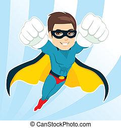 vliegen, superhero, man