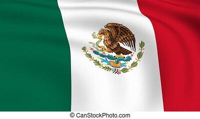 vliegen, vlag, looped, |, mexico